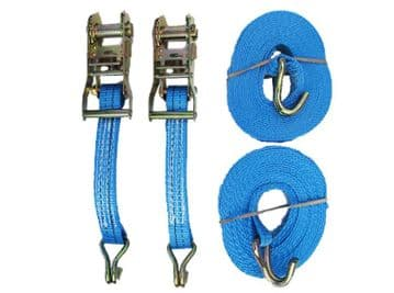 2 x 25mm x 5 metre x 800kg RATCHET LASHING TIED DOWN STRAPS + CLAW HOOK trailer